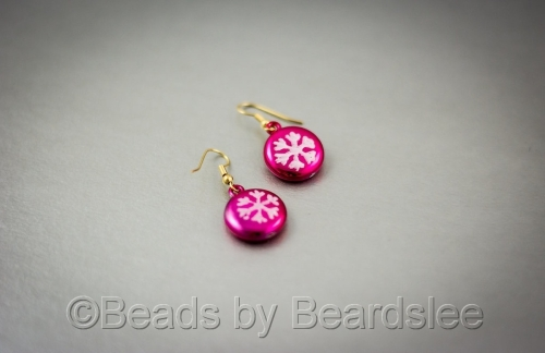 Pink and White Snowflake Earrings (large view)