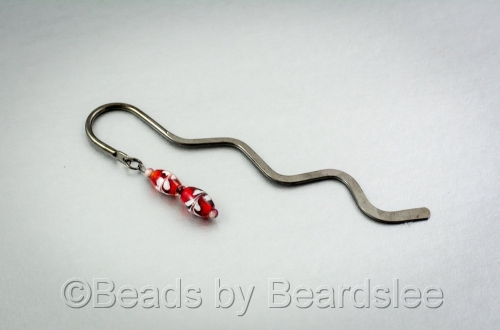 Red and White Glass Bookmark (large view)
