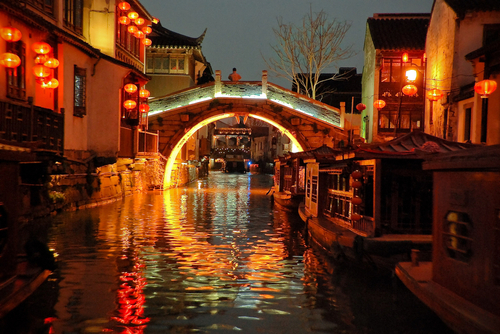 Grand Canal bridge in China at night