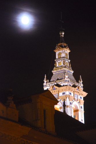 Cathedral tower by moonlight, Spain