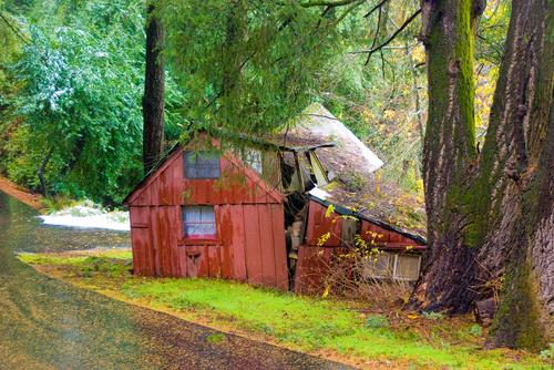 Country shack at first snowfall