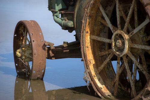 Tractor wheels in water