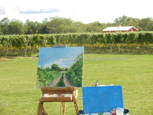 Photo of painting in progress Sparkling Pointe Winery