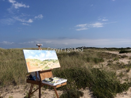 Painting on the summer dunes at Shinnecock