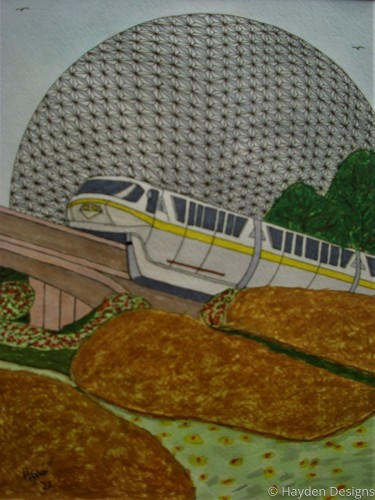 Monorail at Epcot Ball