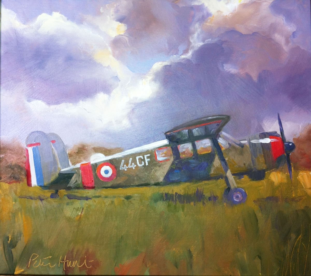 Painting of French vintage aircraft by Peter Hunt (large view)