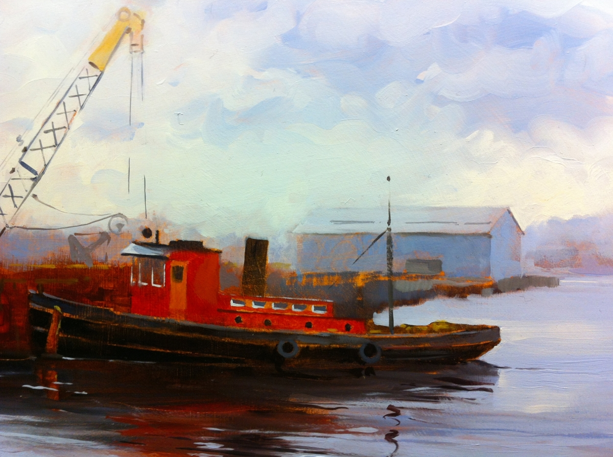 Vintage tug boat painting by Peter Hunt (large view)