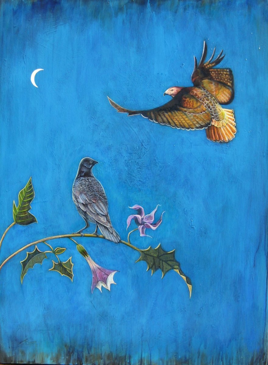 painting of raven, hawk, datura and crescent moon. (large view)