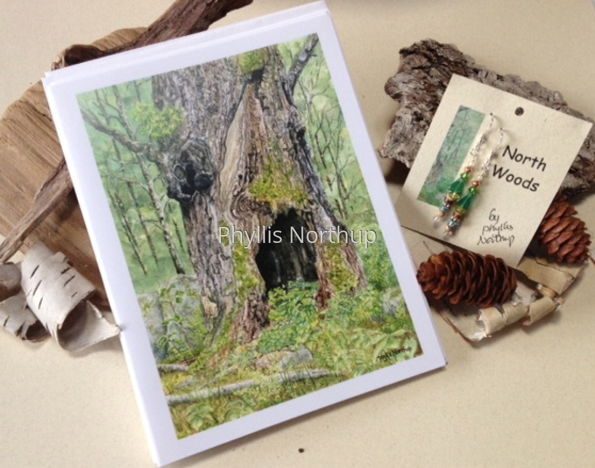 Northwoods Earrings and Forest Cards gift set (large view)
