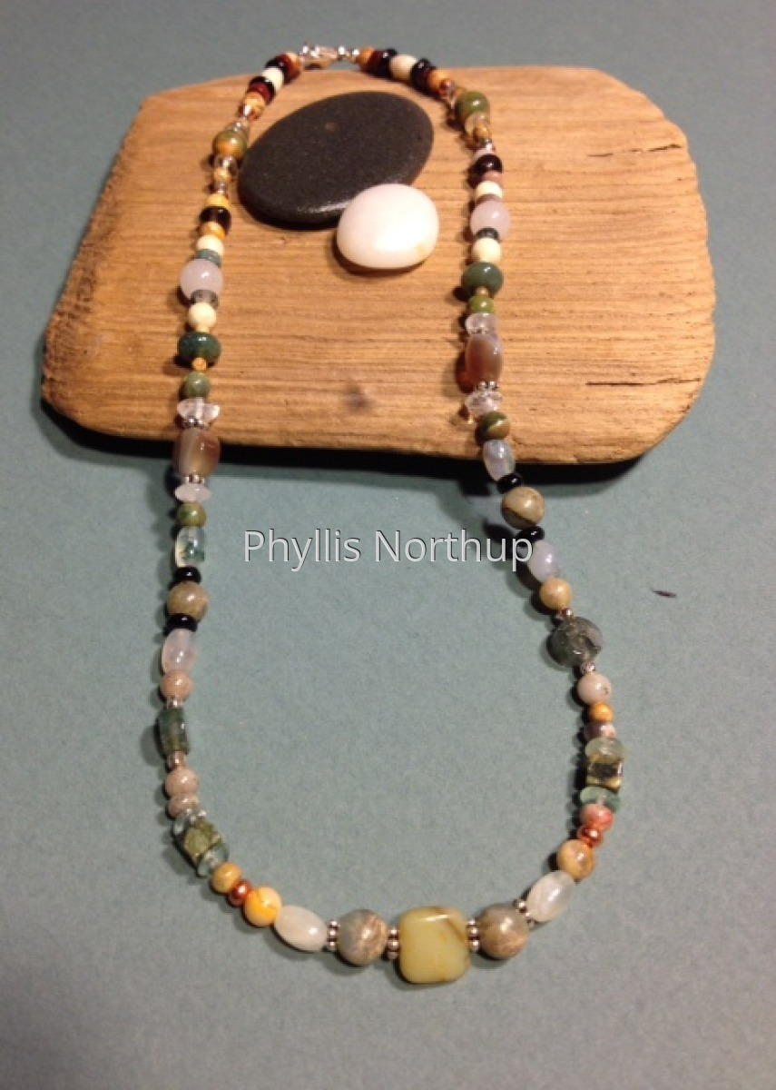 Necklace in greens and tans (large view)