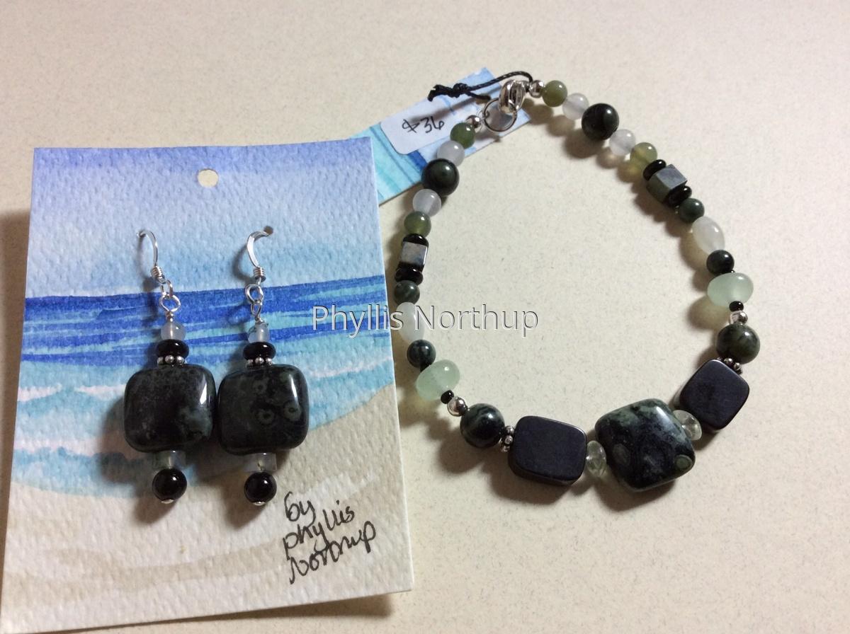 Kambara Jasper bracelet and earring set (large view)