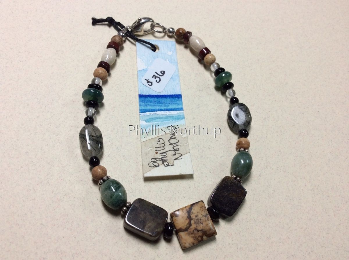 Picture jasper and agate bracelet (large view)