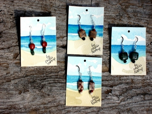 Natural stone earrings (large view)