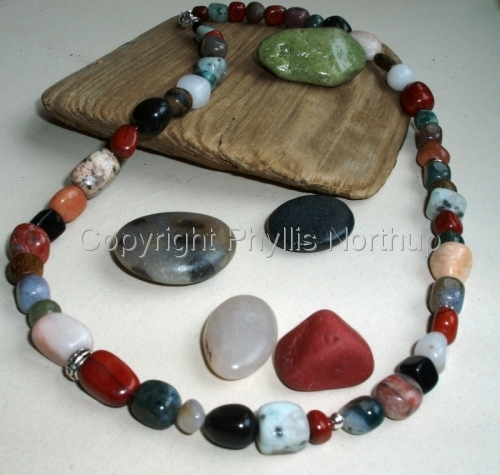 Mixed Gemstone Pebble Necklace