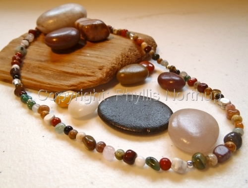 Pebbles and Rounds mixed gemstone necklace (large view)