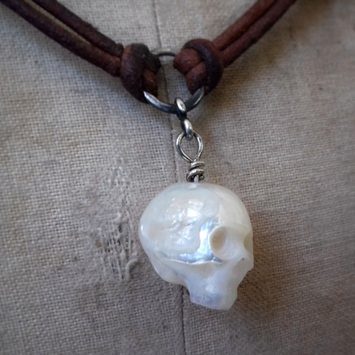 Carved Pearl Skulls