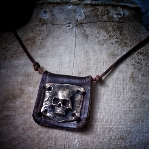 Bronze Skull on Leather