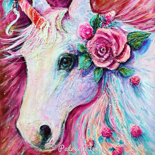 Unicorn with Pink Rose