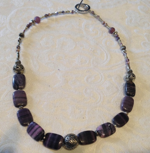 Purple rectangular Agate Necklace by Notions