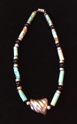 Turquoise Southwest style necklace with Sterling Silver Pendant