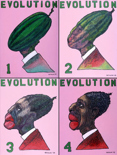 Black Evolution (1910 Appropriation, 4 Individual Canvases) (large view)