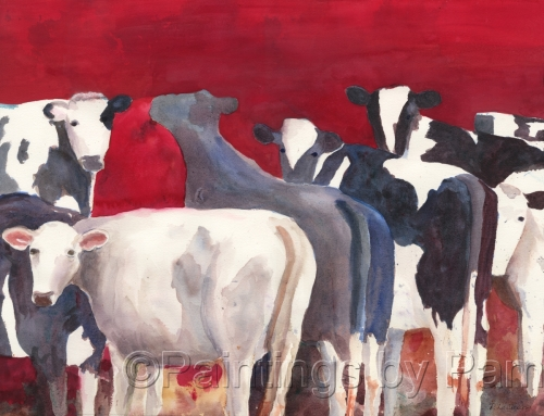 Cows With Red Sky