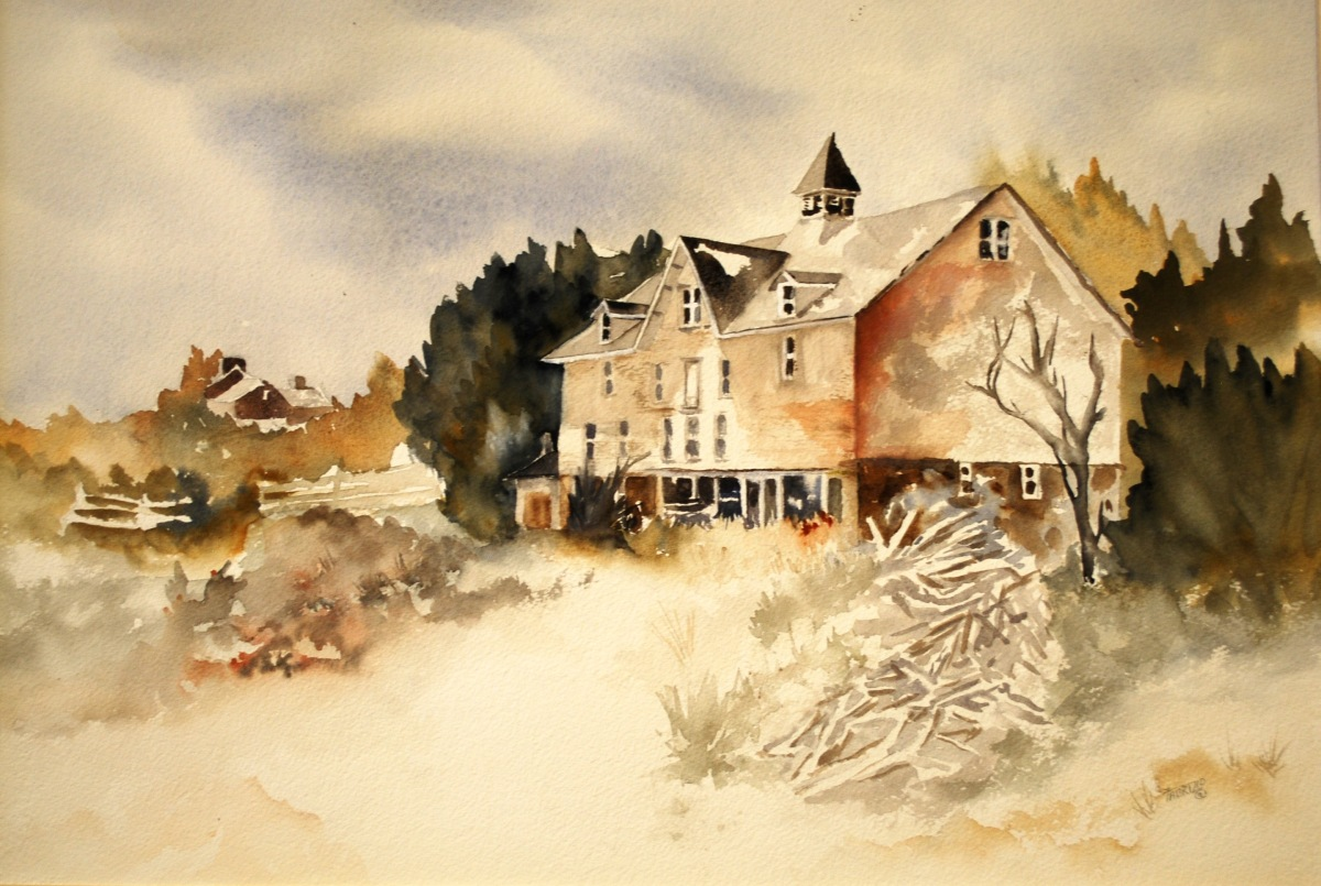 Watercolor of stone and wood barn in Chester County, Pennsylvania in muted tones. (large view)