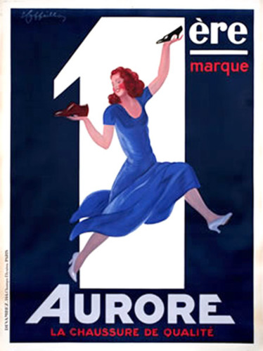 1928 art deco poster of a woman in blue dress extollling the virtue of a shoe brand (large view)