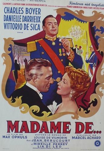 Madame De... Belgium, Movie, Max, Ophüls, Louise Leveque de Vilmorin's, Danielle Darrieux, Charles Boyer, Vittorio De Sica, original, poster (large view)