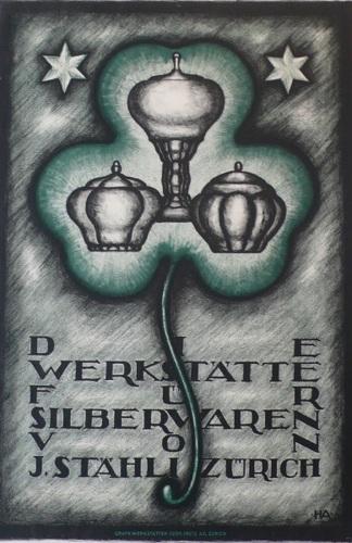 Werkstatte Silberwaren Swiss, Ad, Silversmith, 1915, Silverware, irish, clover, original, poster (large view)