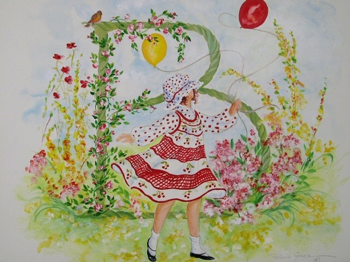 """B"" Young girl in flower garden"