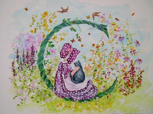 """""""C"""" Young girl in flower garden"""
