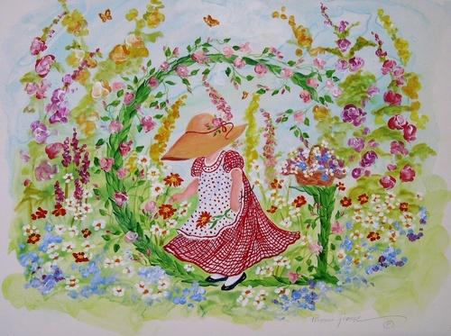 """G"" Young girl in flower garden"