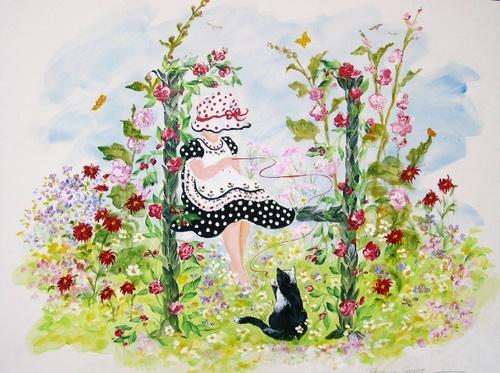 """H"" Young girl in flower garden"