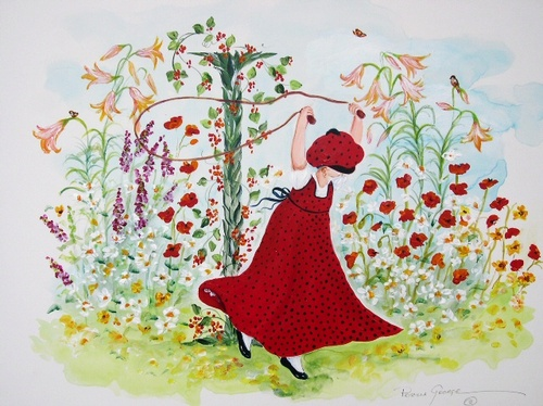 """I"" Young girl in flower garden"
