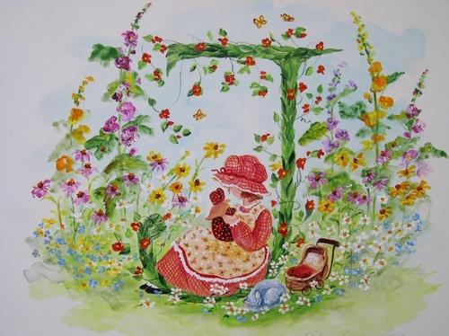 """J"" Young girl in flower garden"