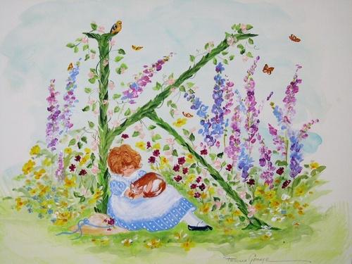 """K"" Young girl in flower garden"