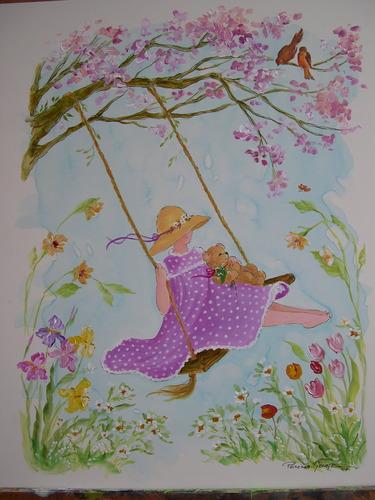 Bonnet Girl with Bear Swinging