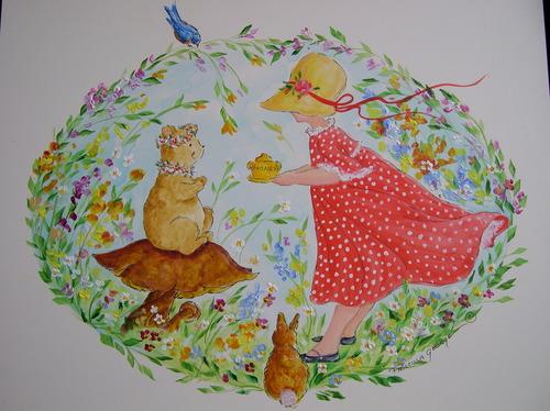 Bonnet Girl Giving Bear Honey