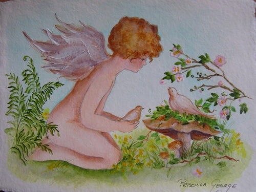 Cherub with Dove
