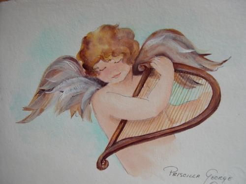 Cherub Playing Harp