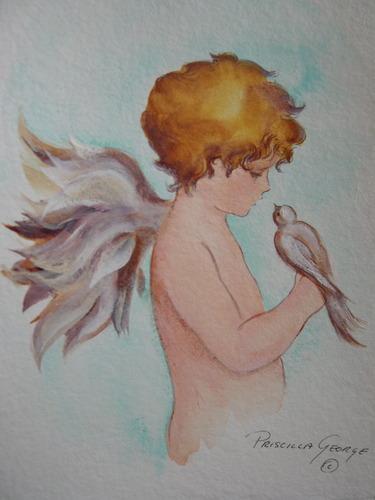 Cherub Holding Dove by Priscilla George