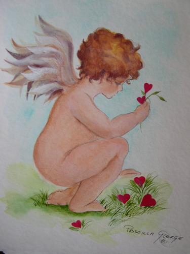 Cherub Gathering Hearts