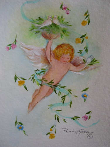 Cherub with Doves & Flowers
