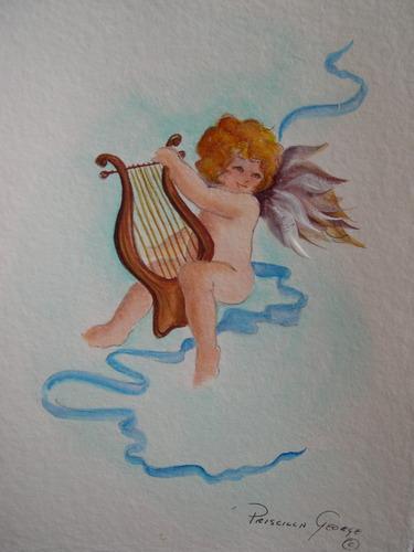 Cherub Playing Harp #2