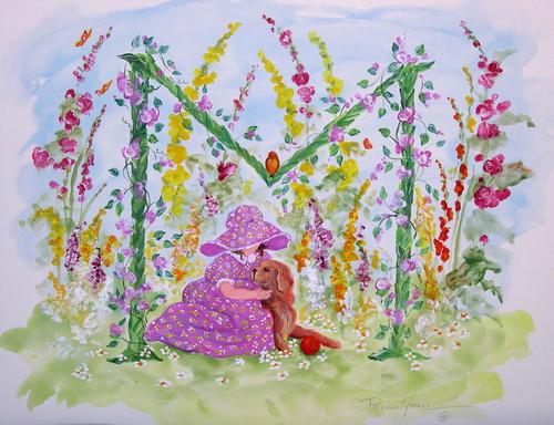 """M"" Young girl in flower garden"