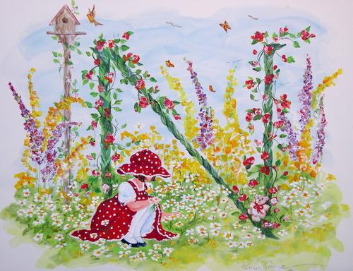 """""""N"""" Young girl in flower garden"""