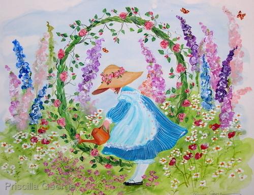 """O"" Young girl in flower garden"