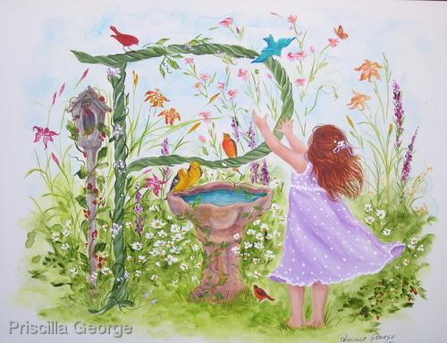 """""""P"""" Young girl in flower garden"""