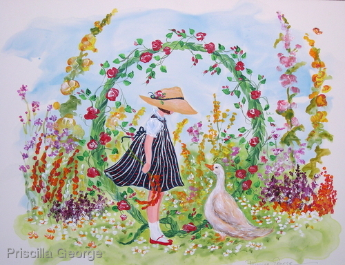 """Q"" Young girl in flower garden"
